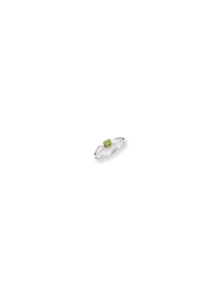 14K White Gold 4-Prong Set Round Shape Peridot Ring by gemaffair