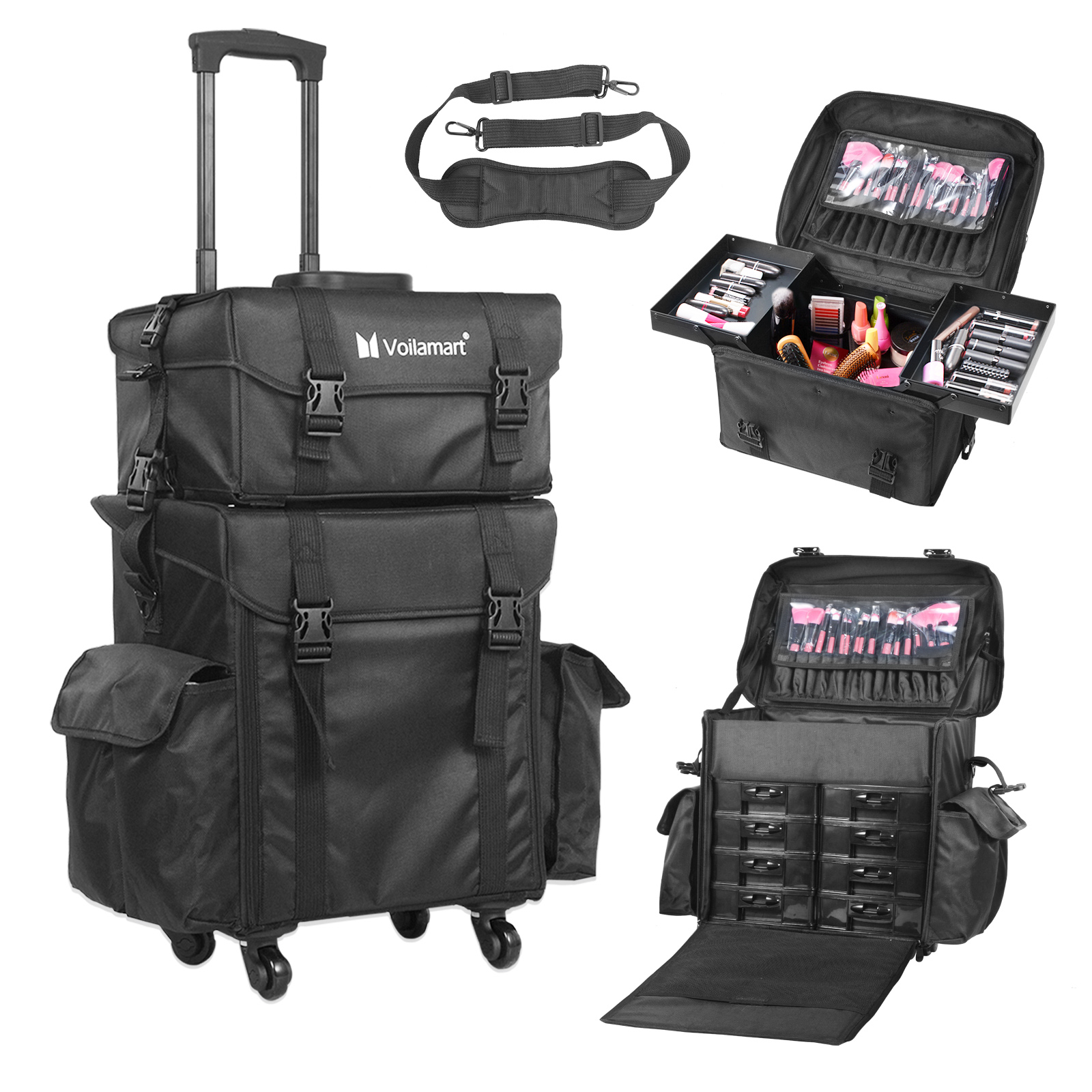 Voilamart Multifunction Artist Rolling Makeup Case Nylon Trolley Case 2 in 1 Travel Cosmetic ALL Black Bags for Professional Make Up Artist Cosmetics Storage Shoulder Strap Drawers Side Pocket