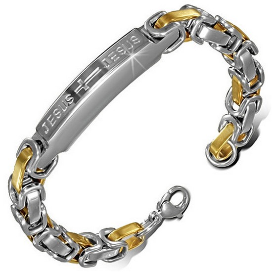 Stainless Steel Two-Tone Mens Religious Jesus Link Chain Bracelet with Clasp