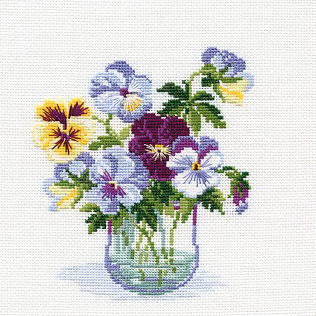 Pansies Counted Cross Stitch Kit, 8