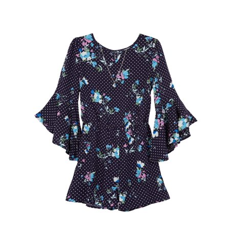 Amy Byer Long Sleeve Floral Print Romper (Big Girls) (Long Sleeve Print Romper)