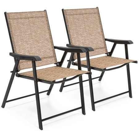 Best Choice Products Set of 2 Outdoor Mesh Patio Folding Sling Back Chairs with Steel Frame, Brown ()