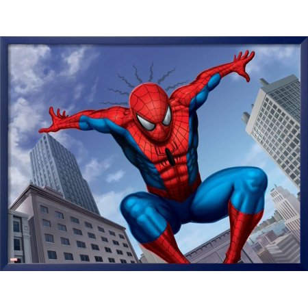 Spider-Man Jumping In the City Framed Poster Wall Art