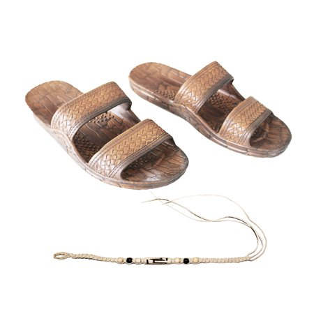 Hemp Mens Sandals - Hawaii Brown or Black Jesus sandal Slipper for Men Women and Teen Classic Style  With Natural Hemp Bracelet (Women size 9, Brown)