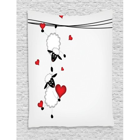 Sheep Tapestry - Animal Tapestry, Sheep Couple with Heart Shapes in Love Hanging On Washing Fun Comic Cartoon Art, Wall Hanging for Bedroom Living Room Dorm Decor, Red White Black, by Ambesonne