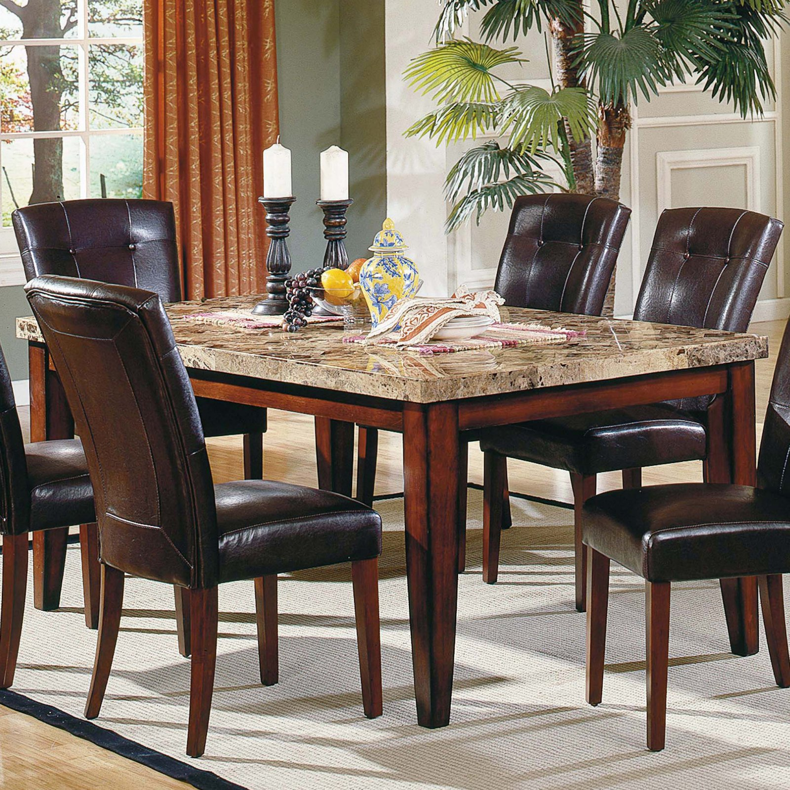 Steve Silver Montibello 5-Piece Marble Top Rectangular Dining Table Set