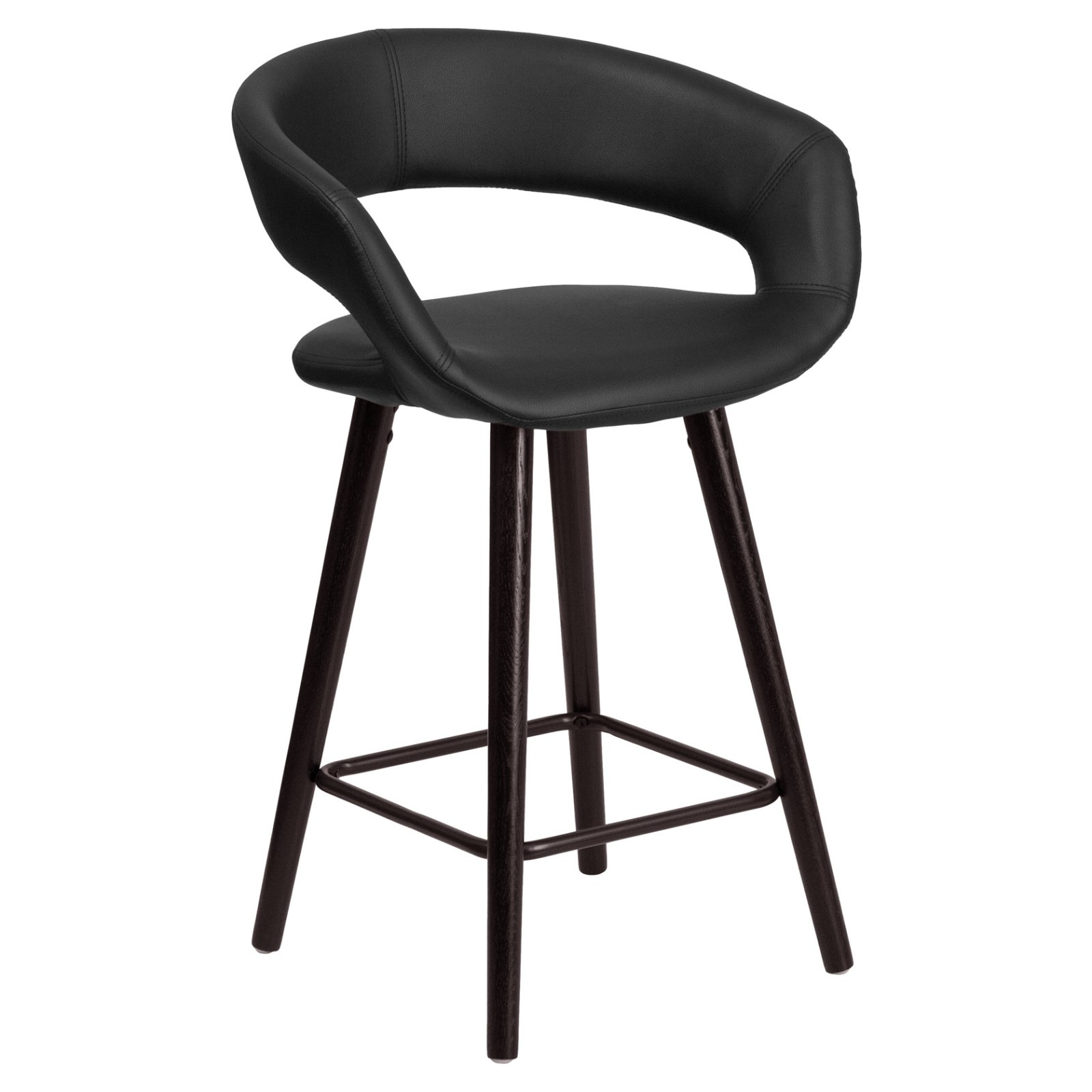 Flash Furniture Brynn 24 in. Contemporary Rounded Low Back Legged Vinyl Counter Stool