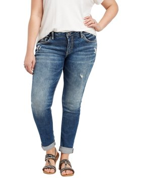 Plus Size Silver Jeans Co. Medium Wash Girlfriend Jean