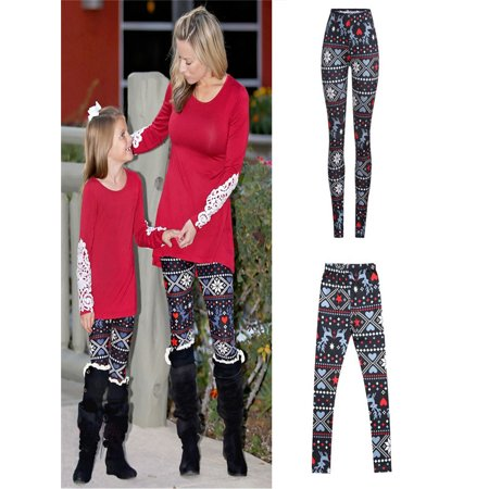 Christmas Mommy &Me Children Girls Star Deer Print Family Pants Leggings Clothes