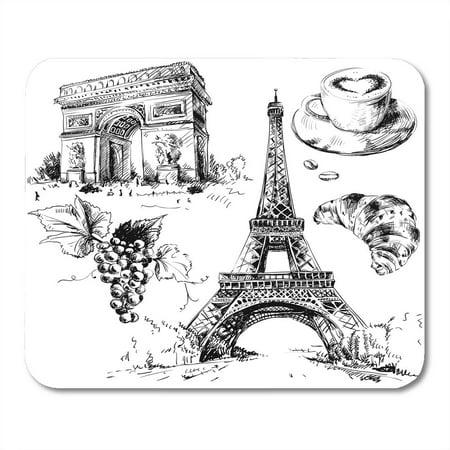 Croissant Halloween Food (KDAGR France Paris Tower Croissant Coffee Food Arch Mousepad Mouse Pad Mouse Mat 9x10)