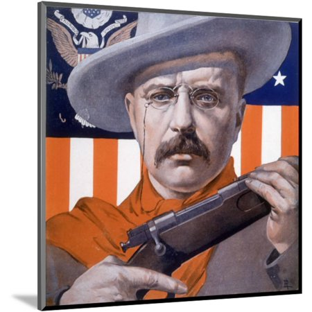 Theodore Roosevelt 26th American President: a Satirical View Wood Mounted Print Wall Art By Rene Lelong