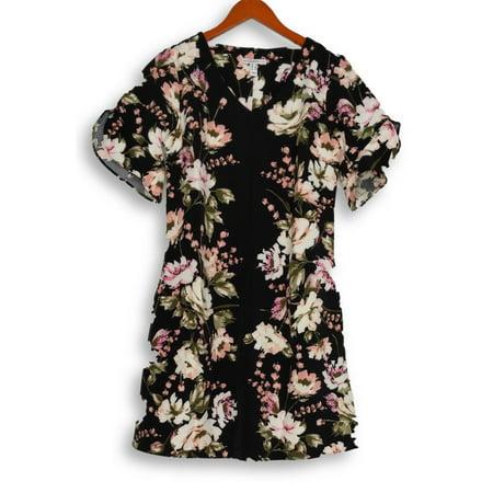 Isaac Mizrahi Live! Dress Sz 4 Floral Print Stretch Crepe Black A354831 Black Stretch Crepe