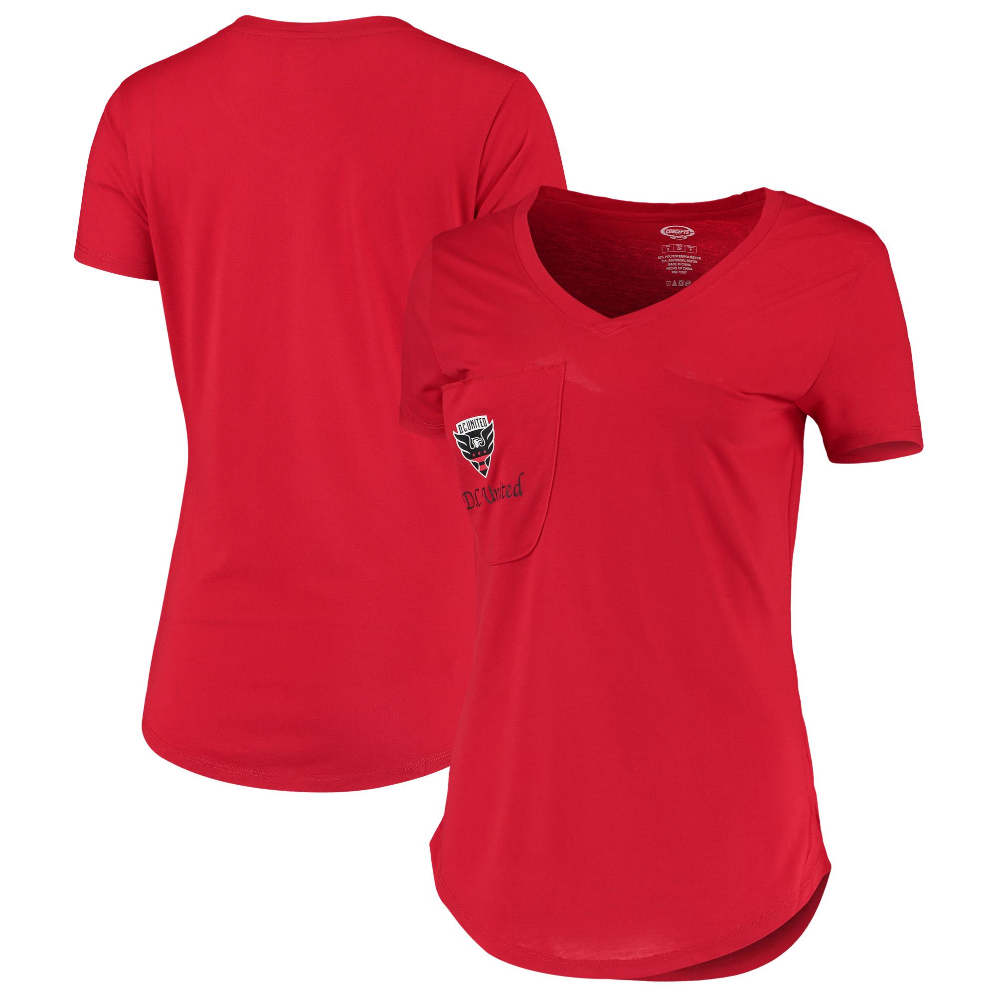 D.C. United Concepts Sport Women's Unwind Pocket V-Neck T-Shirt - Red