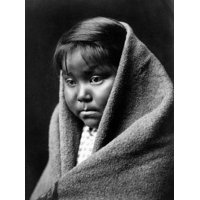 Navajo Child C1904 Na Navajo Child Wrapped In A Blanket Photograph By Edward Curtis C1904 Rolled Canvas Art -  (24 x 36)