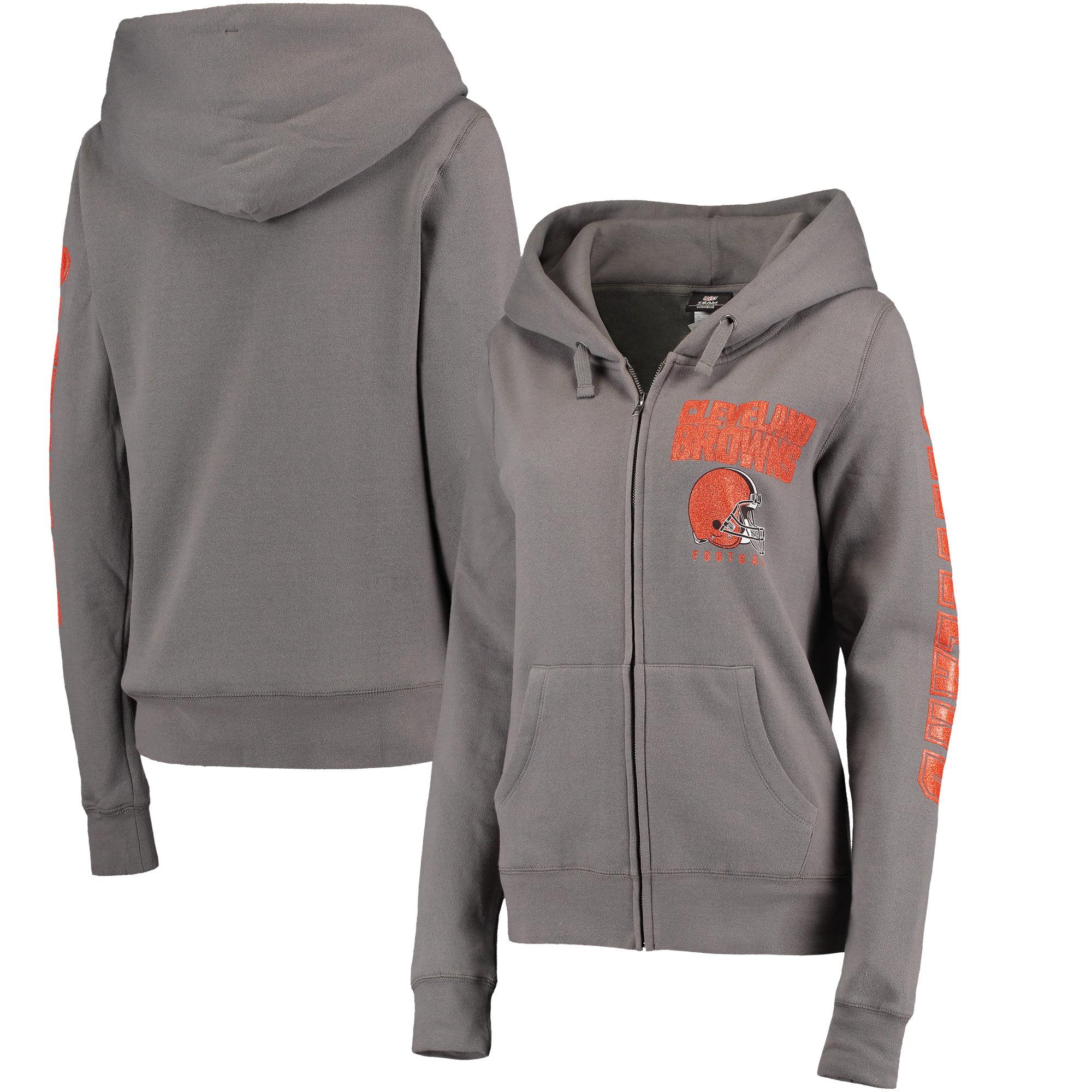 Cleveland Browns New Era Women's Playbook Glitter Sleeve Full-Zip Hoodie - Gray