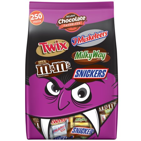Mars Wrigley FUN SIZE Chocolate Favorites Variety Halloween Candy Bag | Contains 250 Pieces, 96.2 Oz. | SNICKERS, TWIX, 3 MUSKETEERS, MILKY WAY, M&M'S Milk Chocolate