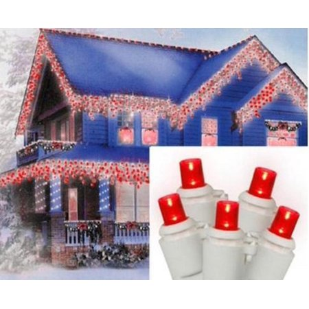 Set of 70 Red LED Wide Angle Icicle Christmas Lights - White Wire - image 2 de 2
