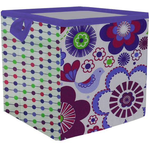Bacati - Botanical Purple Cotton Percale Fabric covered Storage, Small Box, 10 L x 10 W x 10 H inches