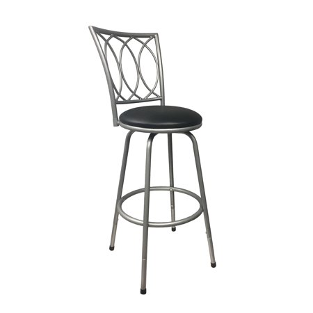 Bar Height Metal (Roundhill Furniture Redico Counter-to-Bar Height Adjustable 360 Degree Swivel Metal Bar Stool, Powder Coated Silver )