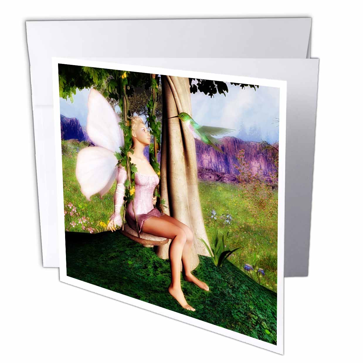 3dRose Forest Fairy With Hummingbird On Garden Swing, Greeting Cards, 6 x 6 inches, set of 12
