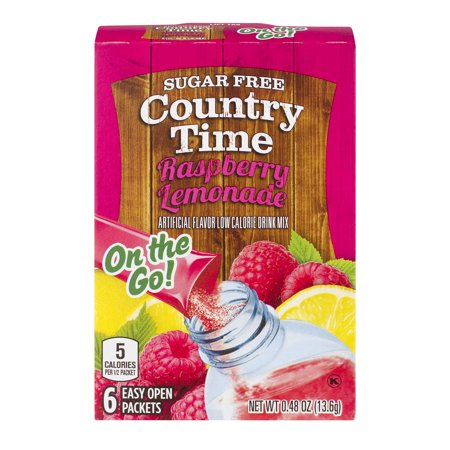 - (6 Pack) Country Time On-The-Go Sugar-Free Raspberry Lemonade Powdered Soft Drink, 6 - 0.48 oz Packets