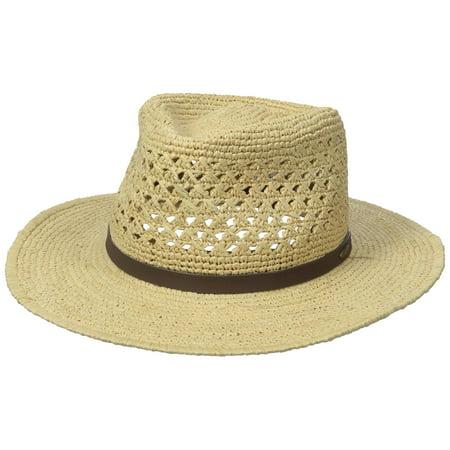 b741e527ccae5c DORFMAN PACIFIC - New Scala Men's Fine Crochet Raffia Outback, Natural,  Small/Medium - Walmart.com
