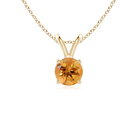 V-Bale Round Citrine Solitaire Pendant in 14K Yellow Gold (5mm Citrine) - SP0531CT-YG-AA-5