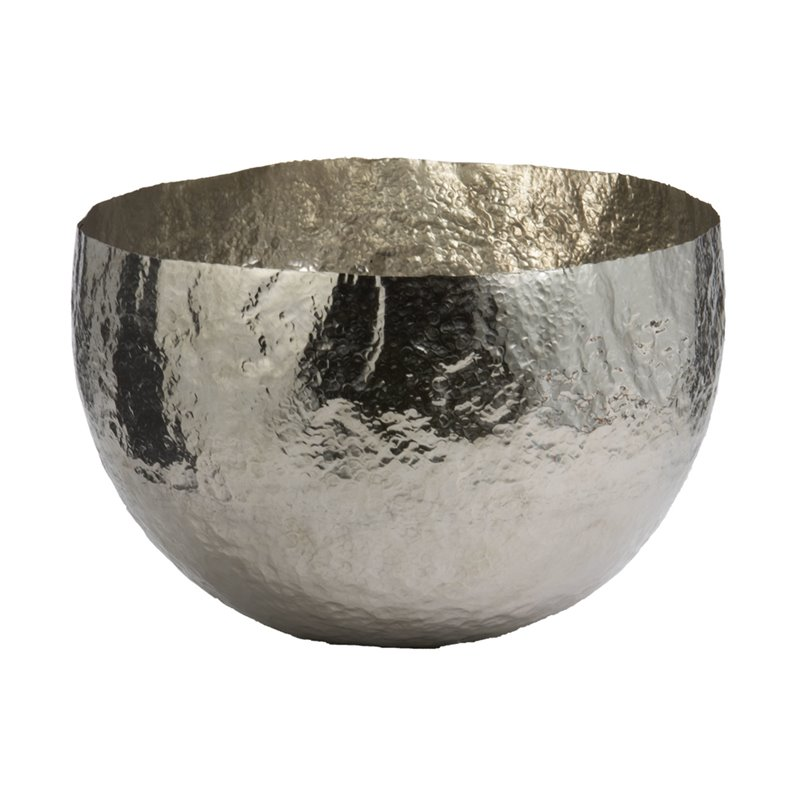 "Dimond Home Nickel Plated 9"" Hammered Brass Bowl in Silver"