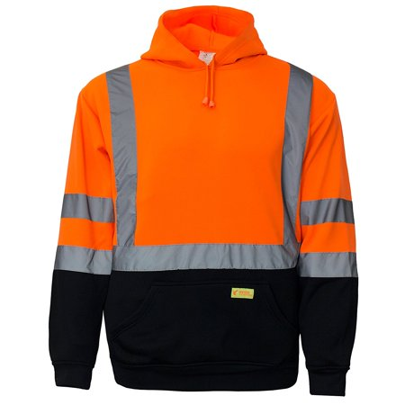 Men's ANSI Class 3 High Visibility Sweatshirt, Hooded Pullover, Black Bottom - Orange / Medium (Ansi Class 3 Fleece Hooded)