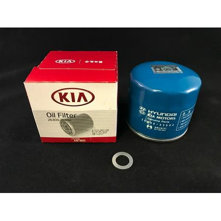 Add Gasket (OEM Hyundai Kia Mobis Engine Oil Filter and Gasket 26300-35504 Free)
