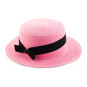 Woman Ribbon Decor Wide Brim Braided Summer Travel Beach Straw Cap Sun Hat Black