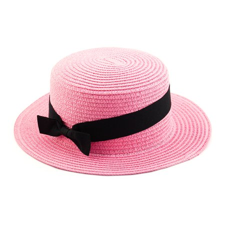 Woman Ribbon Decor Wide Brim Braided Summer Travel Beach Straw Cap Sun Hat