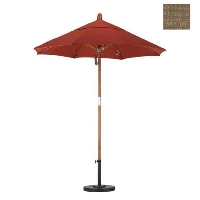 California Umbrella WOFA758-F76 7. 5 ft.  Fiberglass Market Umbrella Pulley Open Marenti Wood-Olefin-Woven Sesame
