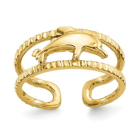 14K Yellow Gold Dolphin Toe Ring - image 3 de 3