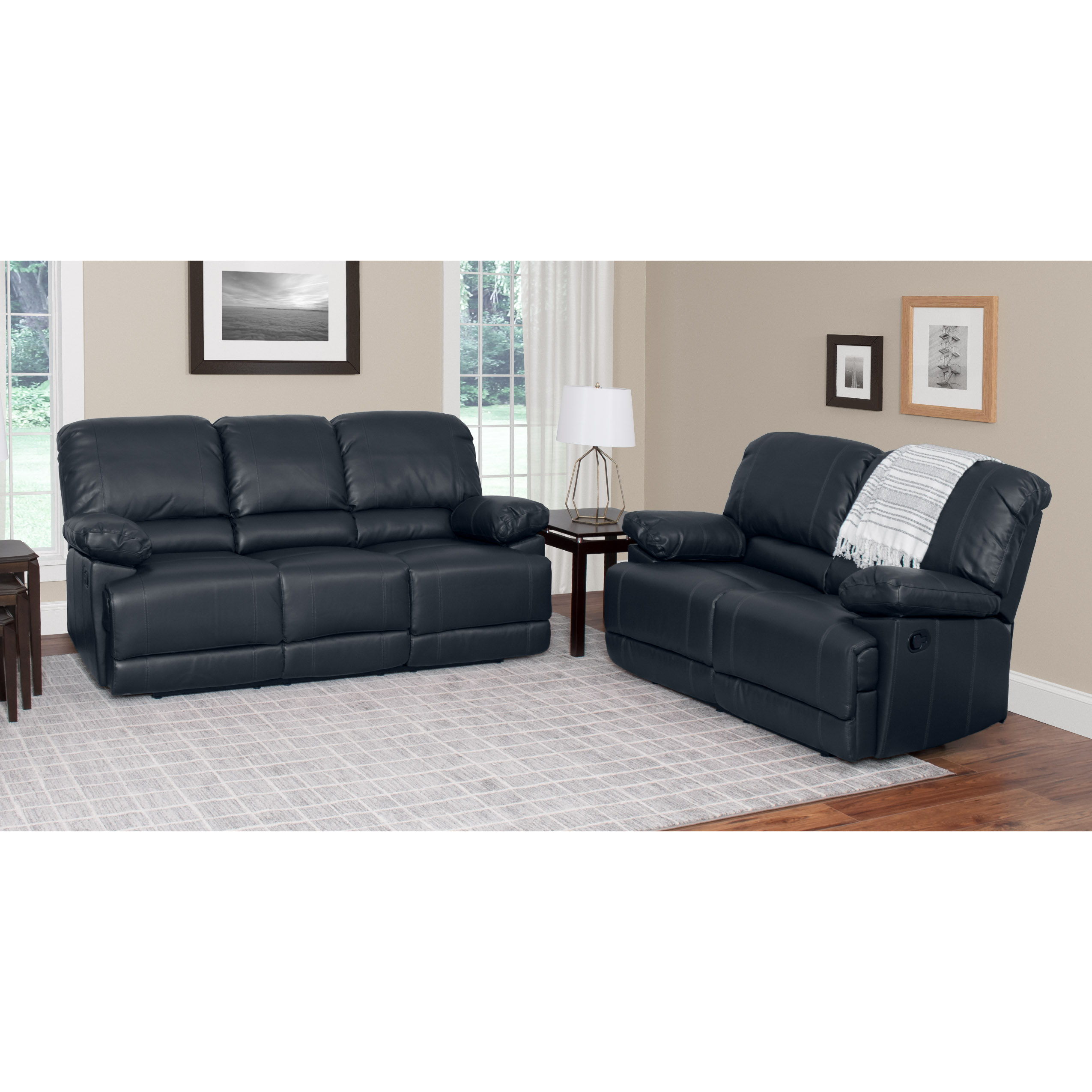 CorLiving 2pc Bonded Leather Reclining Sofa Set