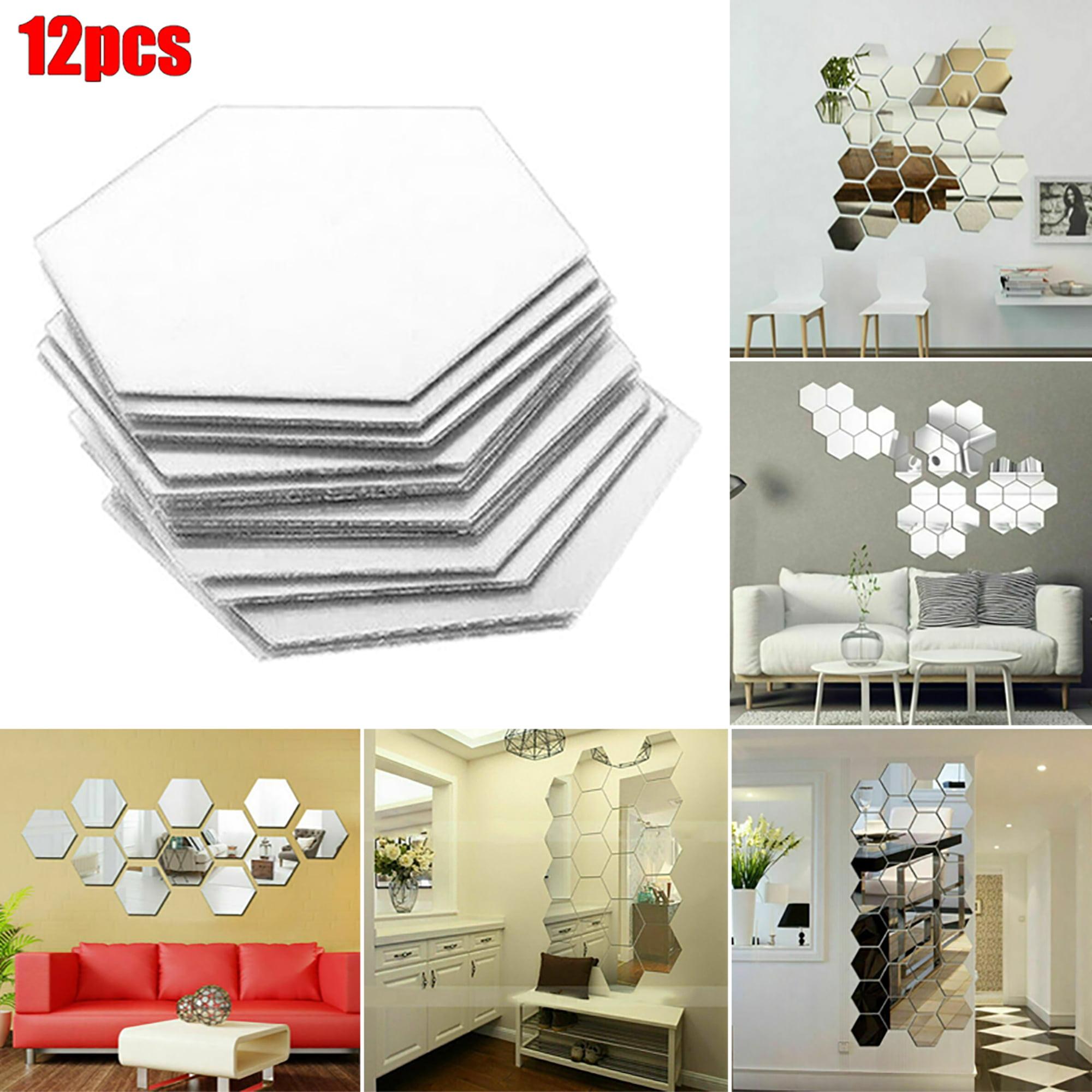 12//24Pcs Mosaic Mirror Tile Wall Stickers DIY Art Decal Decor Self Adhesive Home