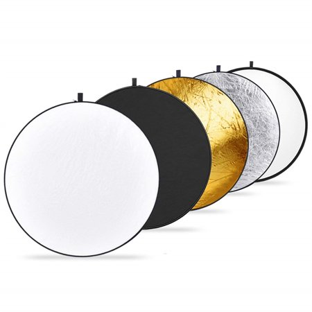 43-inch / 110cm 5-in-1 Collapsible Multi-Disc Light Reflector with Bag - Translucent, Silver, Gold, White and Black Collapsible Disc Light Reflector