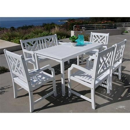 Vifah Bradley 6 Piece Hardwood Patio Dining Set In White