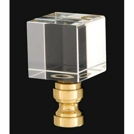 B&P Lamp® Crystal Cube Design, Clear Finial, Brass Brass Base