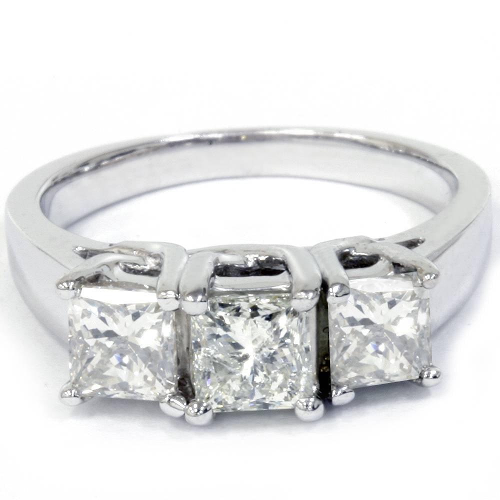 1 1 2ct 3 Stone Princess Cut Diamond Engagement Ring 14k White Gold Walmart Canada