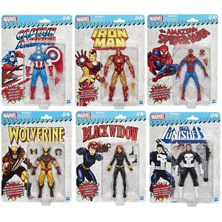 Marvel Legends Vintage Series Spider-Man, Captain America, Iron Man, Punisher, Black Widow & Wolverine Set of 6 Action Figures - Captain America And Black Widow