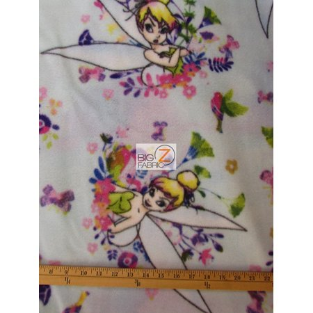 Fleece Printed Fabric Disney Peter Pan / Floral Tinker Bell By Springs Creative / Sold By The Yard (Tinkerbell Fabric)