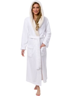 Product Image Silver Lilly Women s Full Length Plush Hooded Bath Robe w   Sherpa Collar d82e7105f