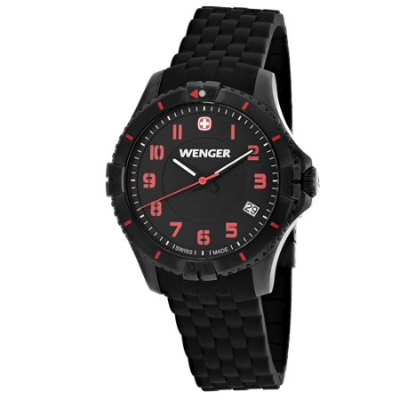 Wenger Squadron Lady Black Dial Silicone Strap Ladies Watch (Wenger Nylon Strap)