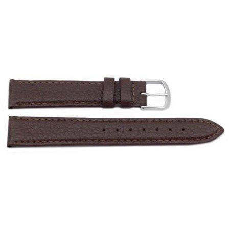 - 12mm Brown Genuine Shrunken Leather Soft Matte Watch Band