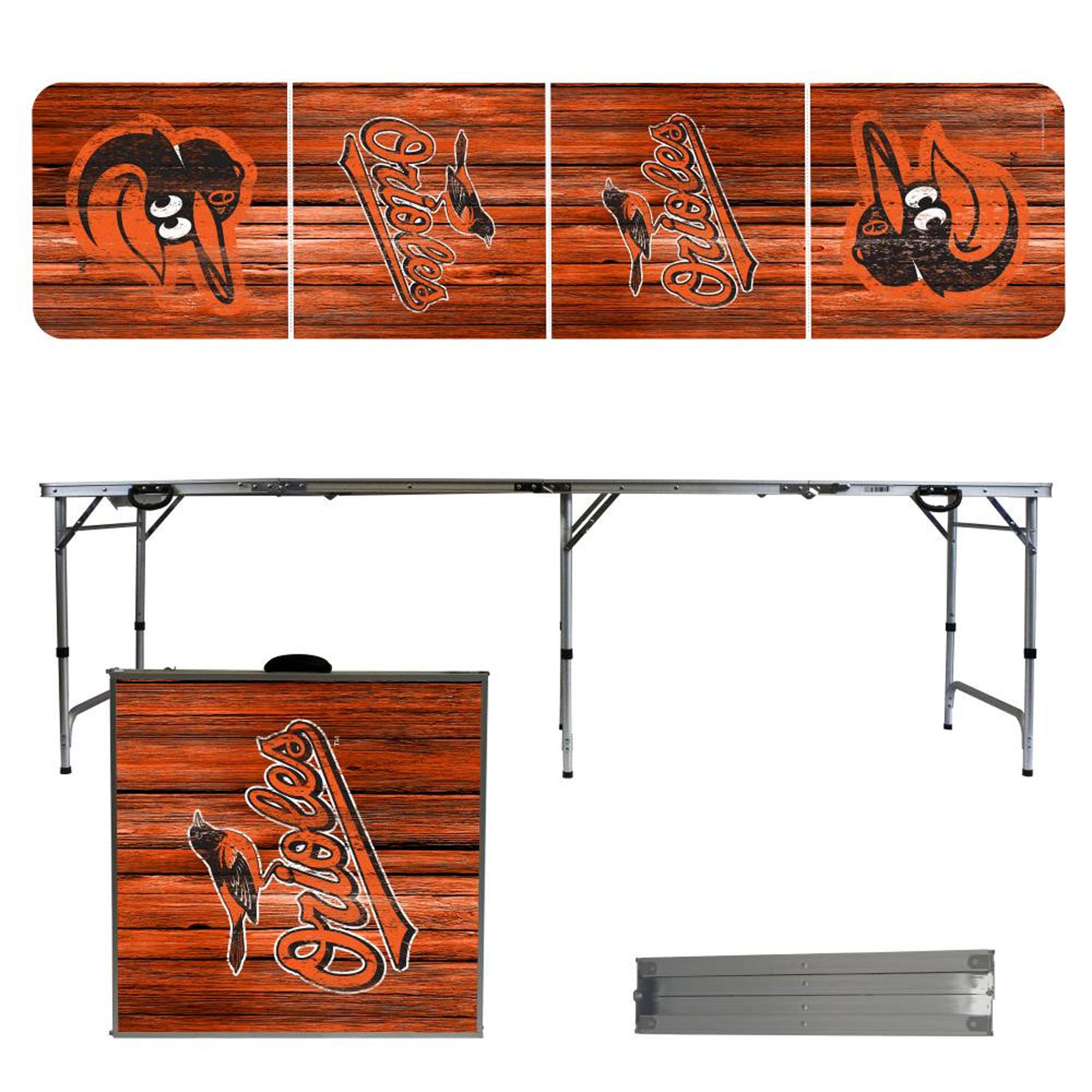 Baltimore Orioles Weathered Design 8' Portable Folding Tailgate Table - No Size