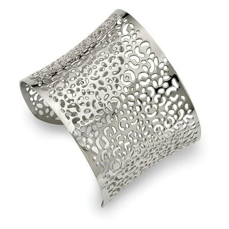 Mia Diamonds Stainless Steel Polished Laser cut Design Cuff Bangle Diamond Design Bangle