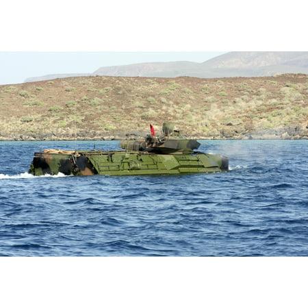Amphibious assault vehicle crewmen conduct a water gunnery range at a Djibouti beach Canvas Art - Stocktrek Images (35 x 23)