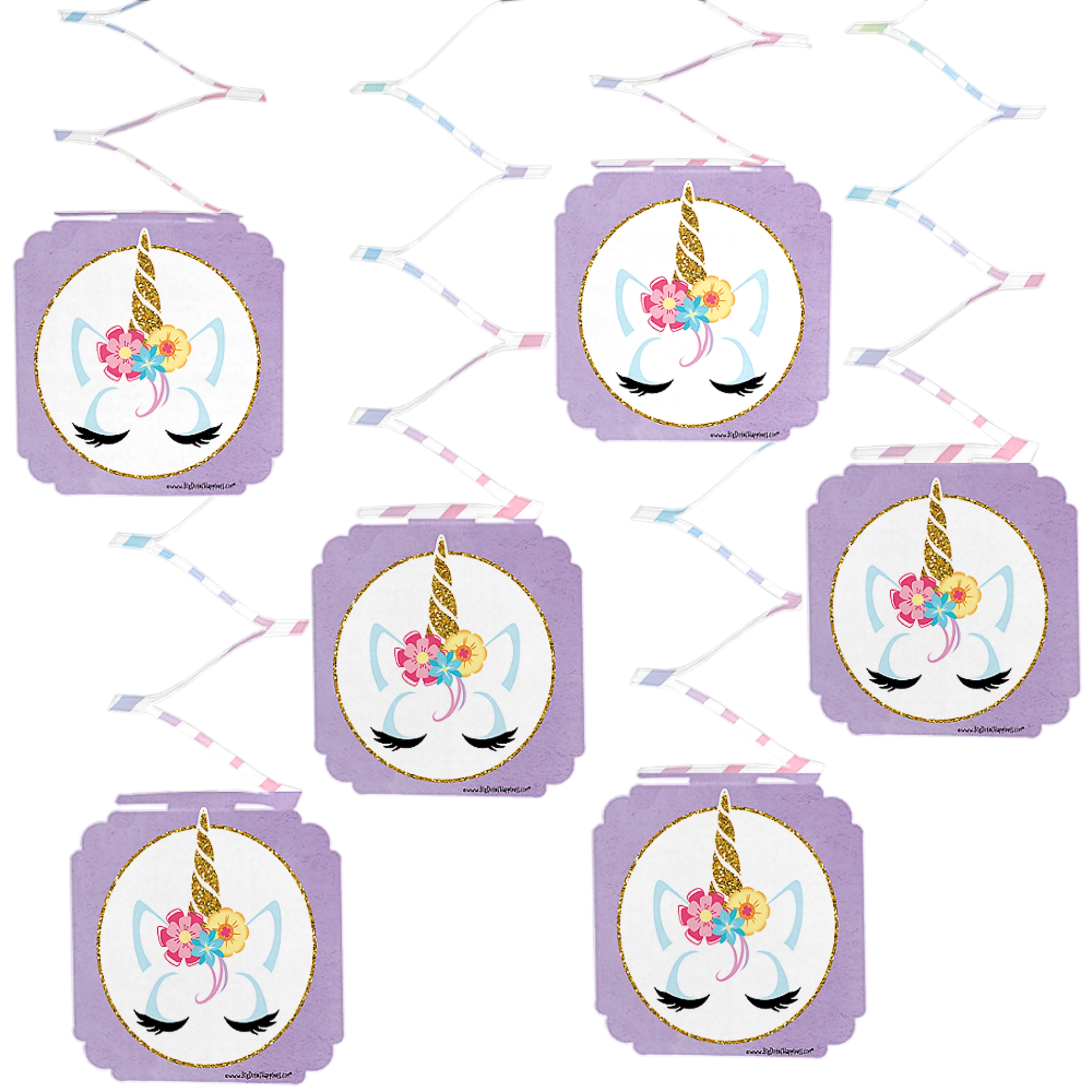Rainbow Unicorn - Magical Unicorn Baby Shower or Birthday Party Hanging Decorations - 6 Count