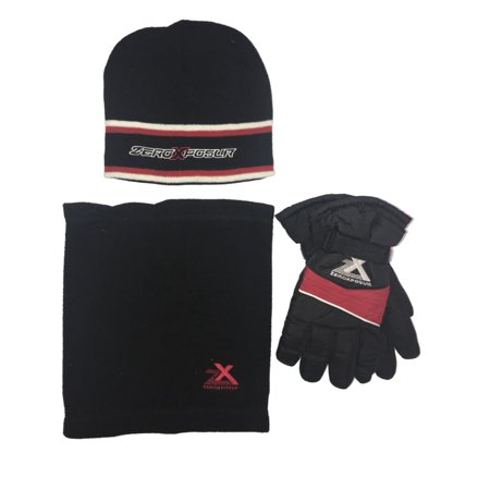 Zero Xposur Boys Black   Red Snow   Ski Gloves Gaiter   Beanie Hat Set L XL  - Walmart.com 6b53aff5c57